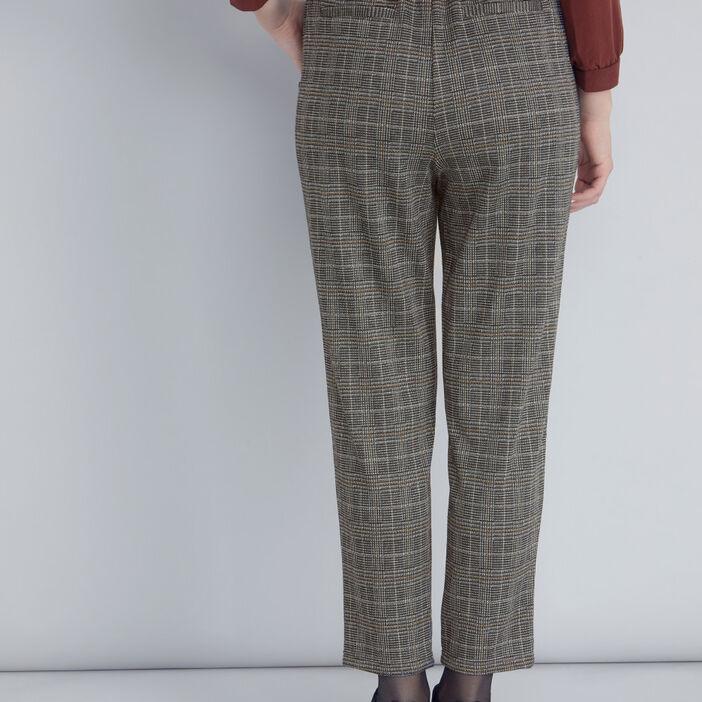 Pantalon carotte à carreaux femme multicolore