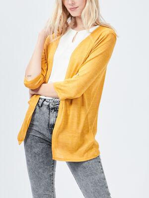 Gilet a manches longues jaune moutarde femme