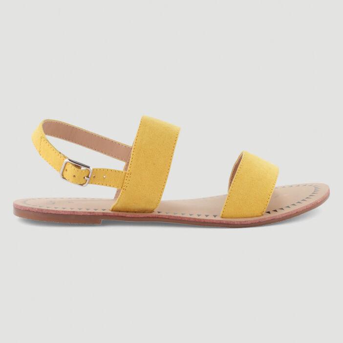Sandales plates à double bride femme jaune
