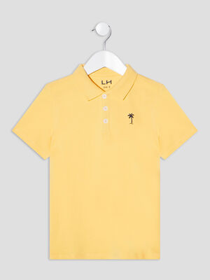 Polo manches courtes jaune moutarde garcon