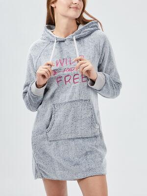 Chemise de nuit a capuche gris femme