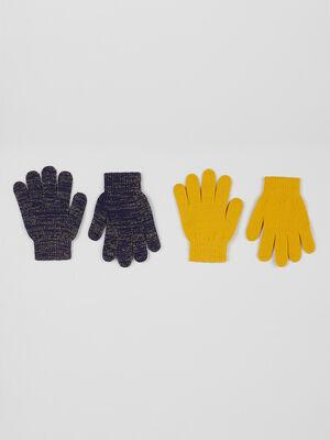 Lot 2 paires de gants bleu marine fille