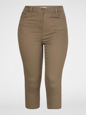 Pantacourt droit uni 5 poches vert kaki femme