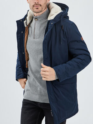 Manteau droit a capuche bleu marine homme