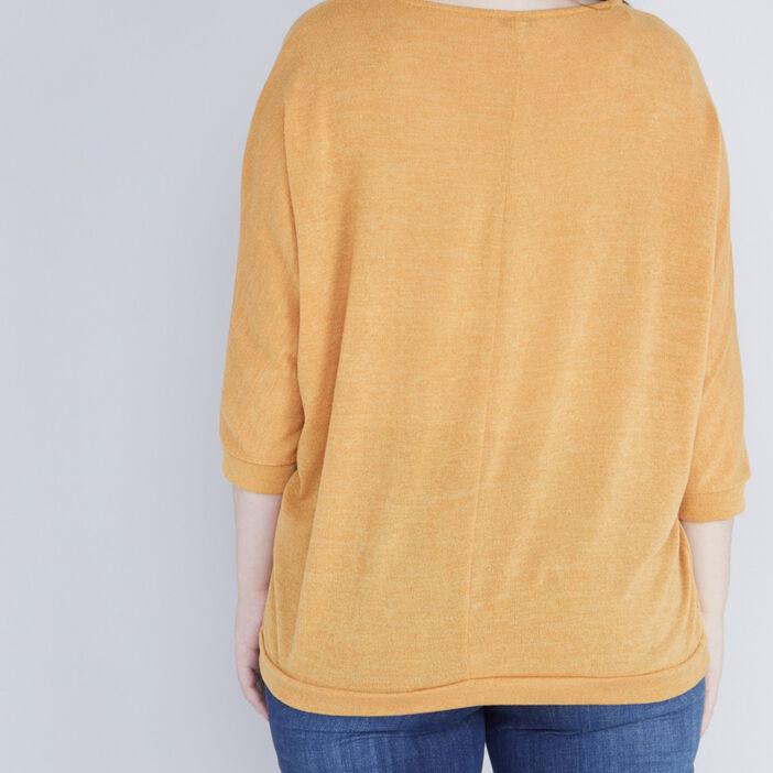 Pull ample col fantaisie irisé femme grande taille jaune moutarde