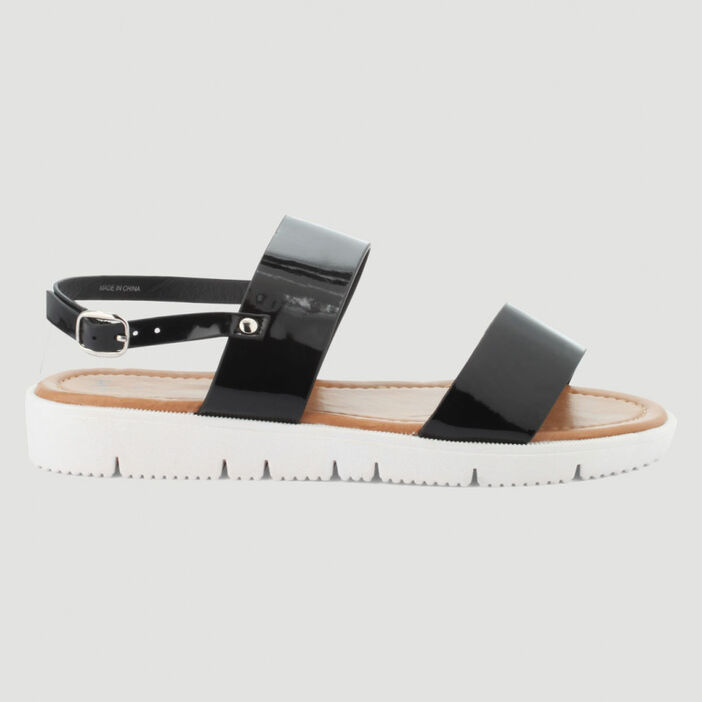 Sandales métallisées 2 lanières femme noir