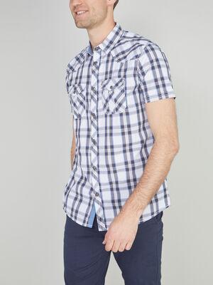Chemise slim carreaux en coton beige homme