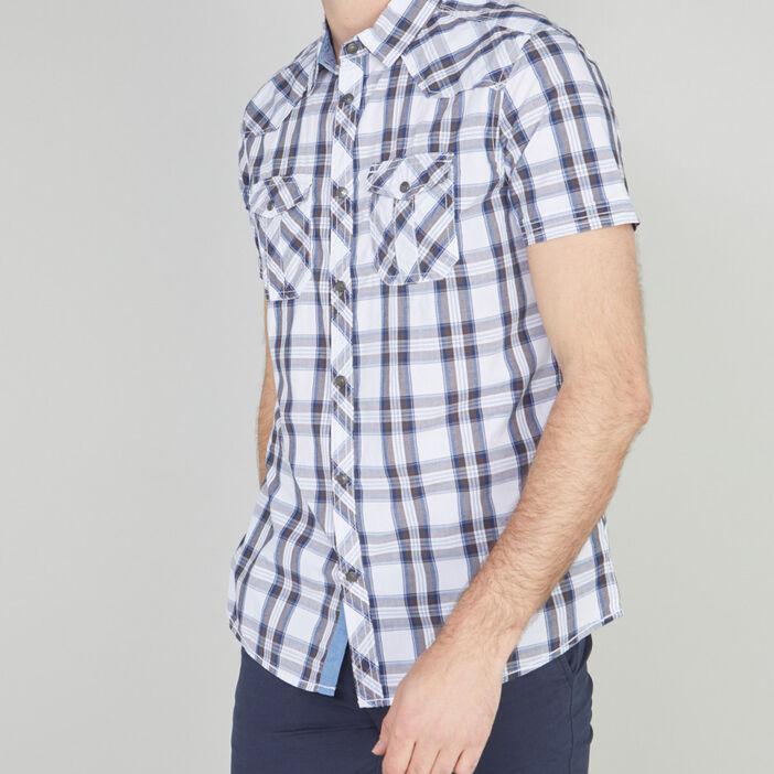 Chemise slim carreaux en coton homme beige