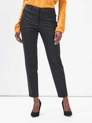 Pantalon droit a pinces gris fonce femme