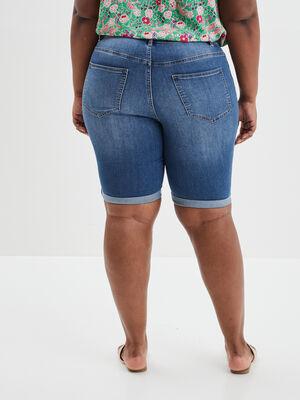 Bermuda straight en jean denim stone femmegt