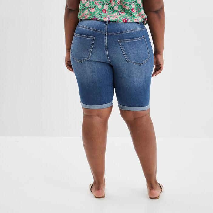 Bermuda straight en jean femme grande taille denim stone