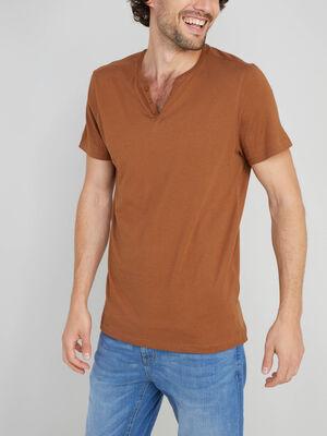 T shirt col tunisien uni camel homme