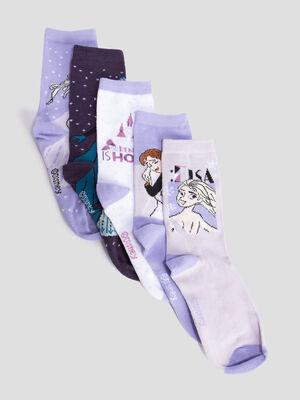 Lot 5 chaussettes Frozen violet fille