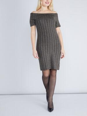 robe en maille pailletee couleur or femme
