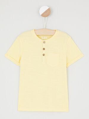T shirt uni col rond boutonne jaune garcon