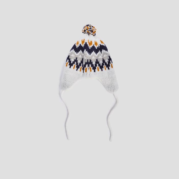 Bonnet péruvien à pompon mixte ecru