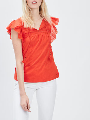 T shirt manches courtes Creeks orange femme