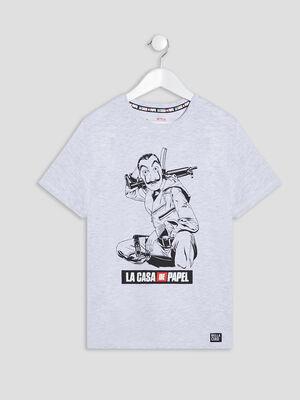 T shirt Casa de Papel gris garcon
