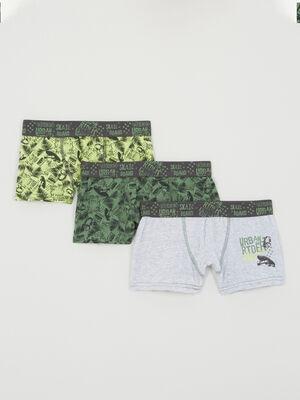 Lot de 3 boxers multicolores vert garcon