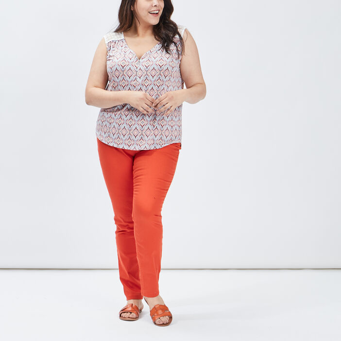 Pantalon slim grande taille femme grande taille orange foncé