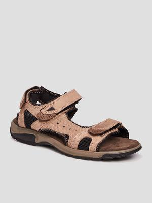 Sandales en cuir Trappeur beige homme