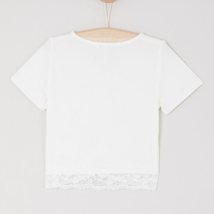 T-shirt col V uni fille ecru