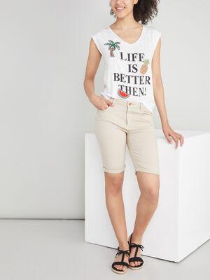 Bermuda 5 poches uni beige femme