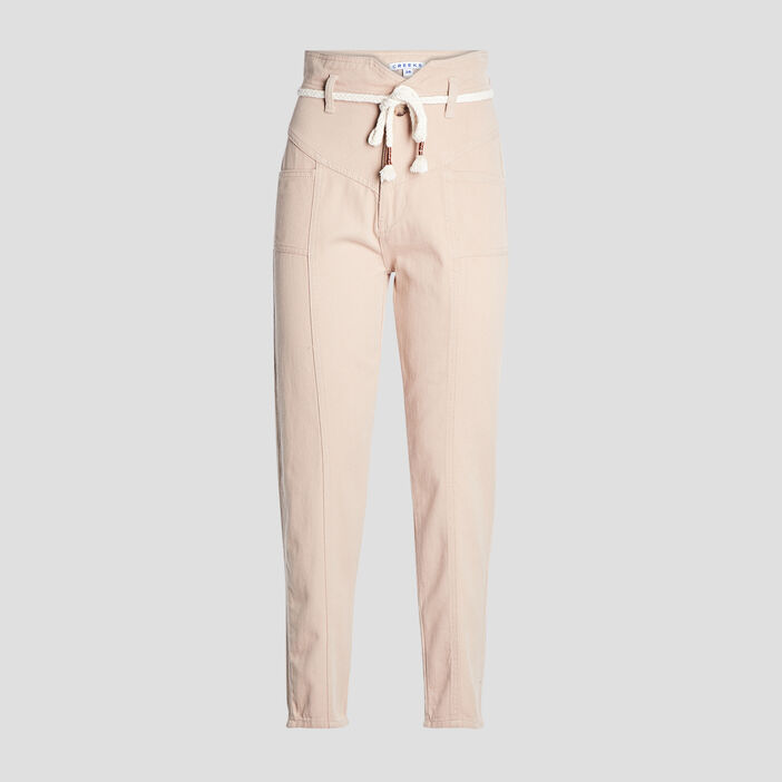 Pantalon cigarette ceinturé femme beige