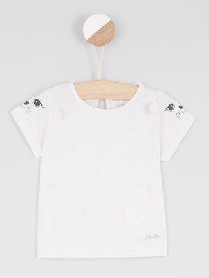 T shirt manches courtes imprime manches rose clair fille