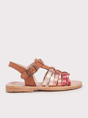 Sandales plates marron fille