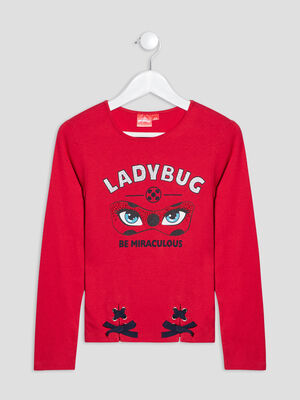 T shirt Miraculous Ladybug rouge fille