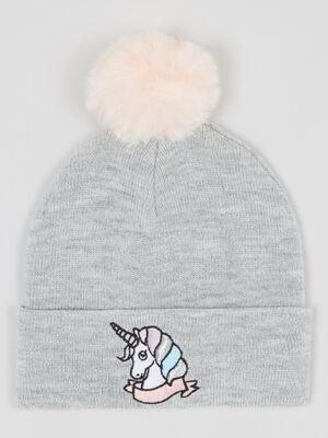 Bonnet licorne pompon contrastant gris fille