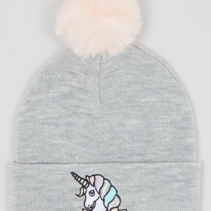Bonnet licorne pompon contrastant fille gris