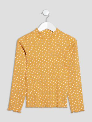 T shirt manches longues jaune moutarde fille