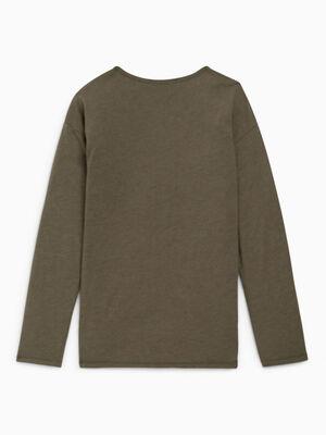 T shirt col rond uni vert kaki fille