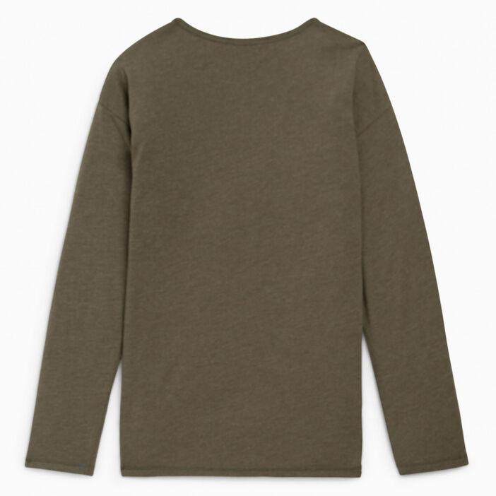 T-shirt col rond uni fille vert kaki