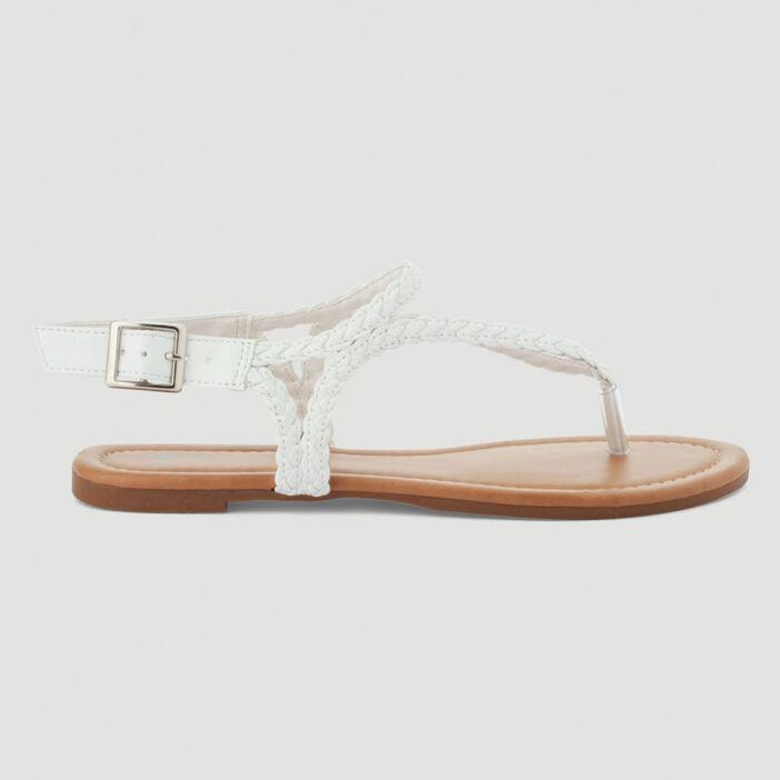 Sandales avec entredoigt tressées femme blanc