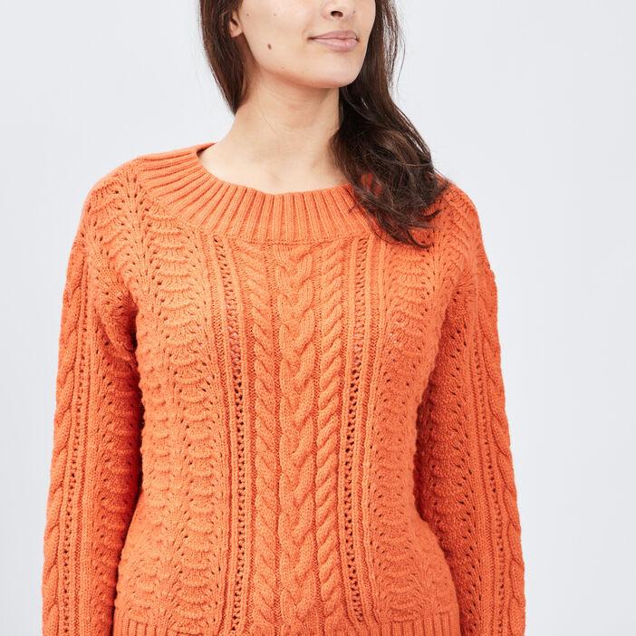 Pull manches longues ajouré femme orange