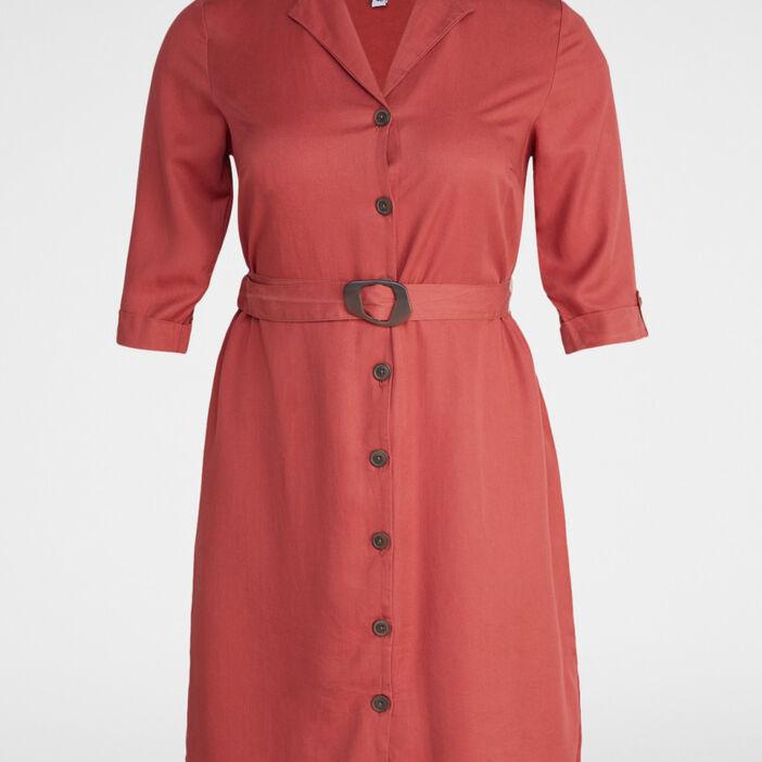 Robe chemise unie grande taille femme orange foncé