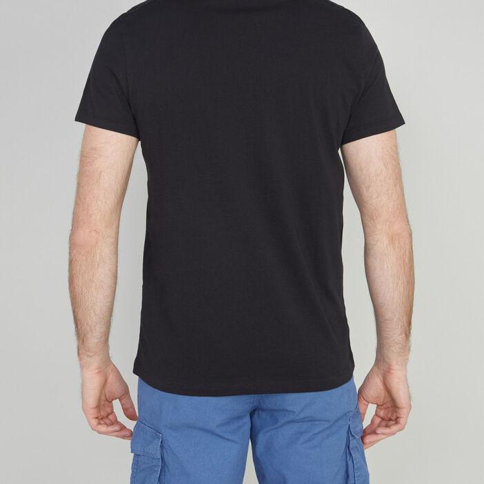 T-shirt col tunisien uni homme noir