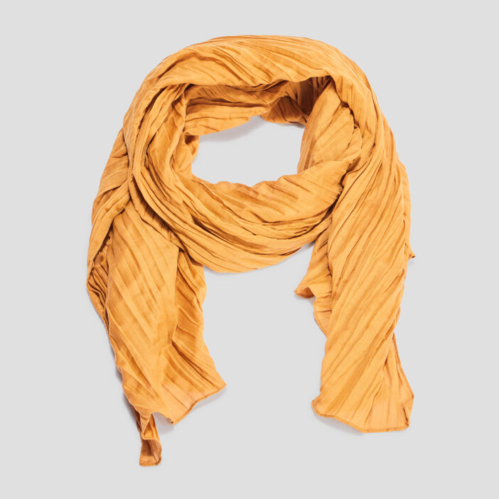 Foulard femme jaune moutarde