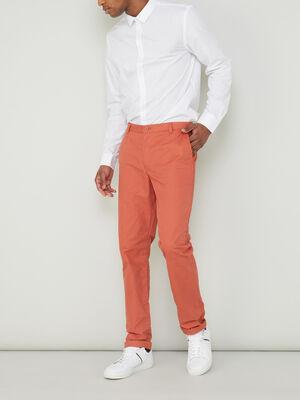 Pantalon droit uni orange fonc homme