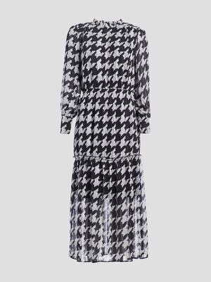 Robe longue evasee noir femme