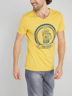 T shirt inscriptions placees coton jaune homme