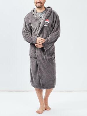 Peignoir ceinture a capuche gris homme