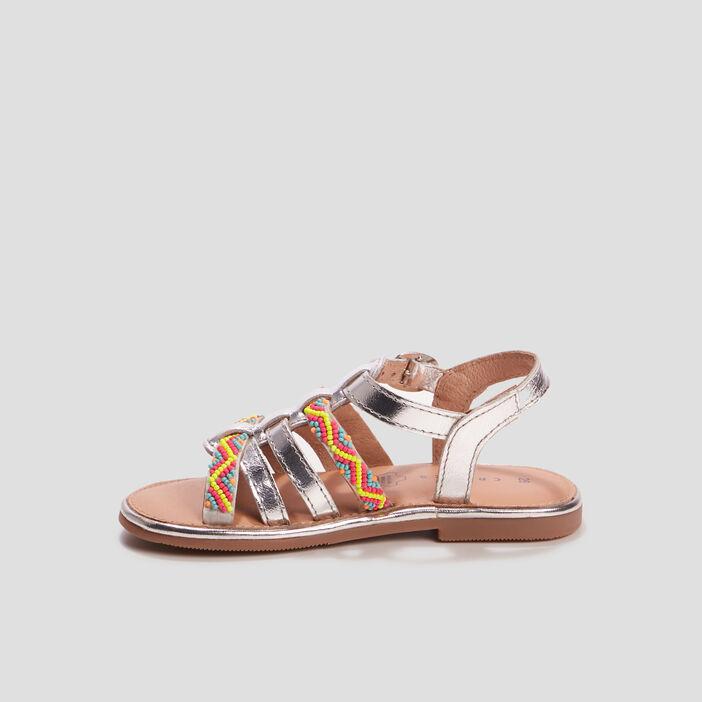 Sandales en cuir avec perles fille couleur argent