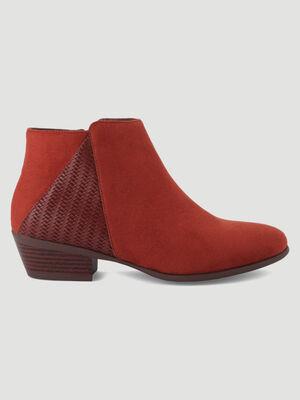 Boots bimatiere avec detail tresse orange fonce femme