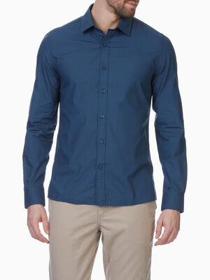 Chemise droite unie manches longues bleu marine homme