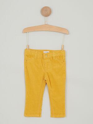 Pantalon uni en coton jaune bebeg