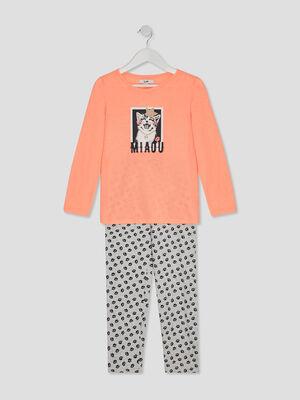Ensemble pyjama short orange corail fille